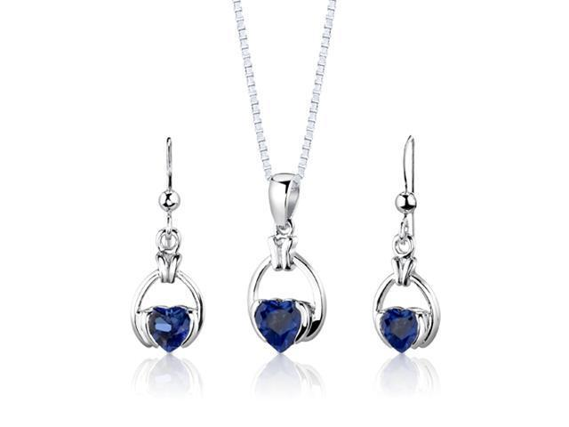 Oravo SS2970 Sterling Silver Heart Shape Sapphire Pendant Earrings and 18 inch Necklace Set