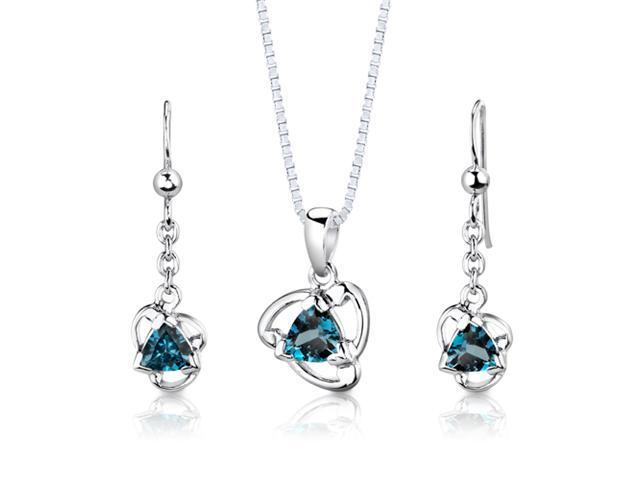 Sterling Silver 2.75 carats total weight Trillion Cut London Blue Topaz Pendant Earrings and 18 inch Necklace Set
