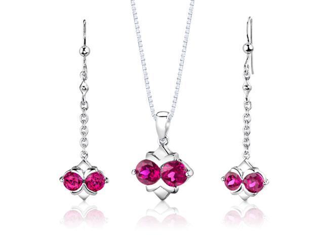 Sterling Silver Round Shape Ruby Pendant Earrings and 18 inch Necklace Set