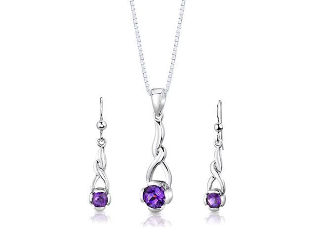 Sterling Silver 1.75 carats total weight Round Shape Amethyst Pendant Earrings and 18 inch Necklace Set