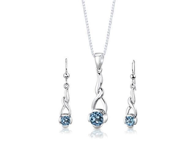 Sterling Silver 2.25 carats total weight Round Shape Swiss Blue Topaz Pendant Earrings and 18 inch Necklace Set
