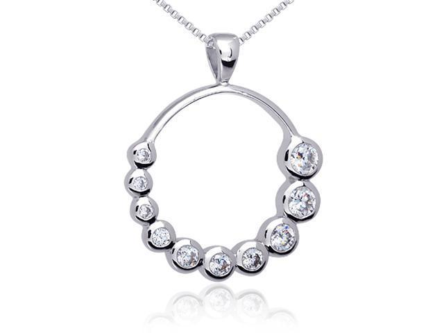 Inspired Journey: Sterling Silver with CZ Diamond Hoop Journey Pendant