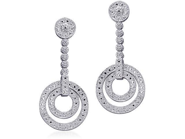 Breathtaking Beauty: Sterling Silver Bridal Style Circle Earrings with CZ Diamonds