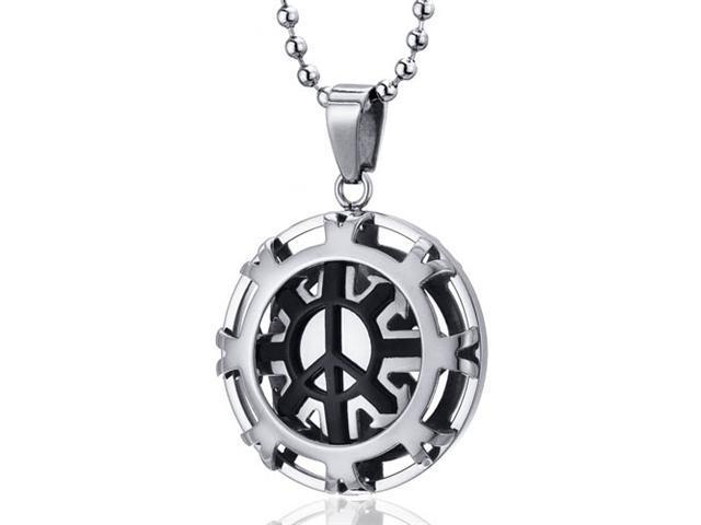 Modern Art Polished Stainless Steel Peace Sign Circle Pendant