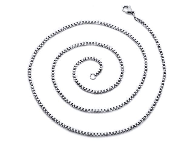 Mens 22 inch Stainless Steel Box Chain Necklace