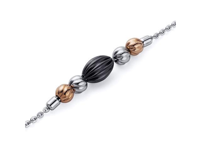 Jet Black and Gold Tone Corrugated Bead Stainless Steel Chain Bracelet
