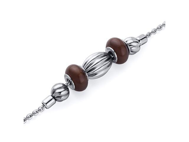 Brown Roundel with corrugated Bead Stainless Steel Chain Bracelet