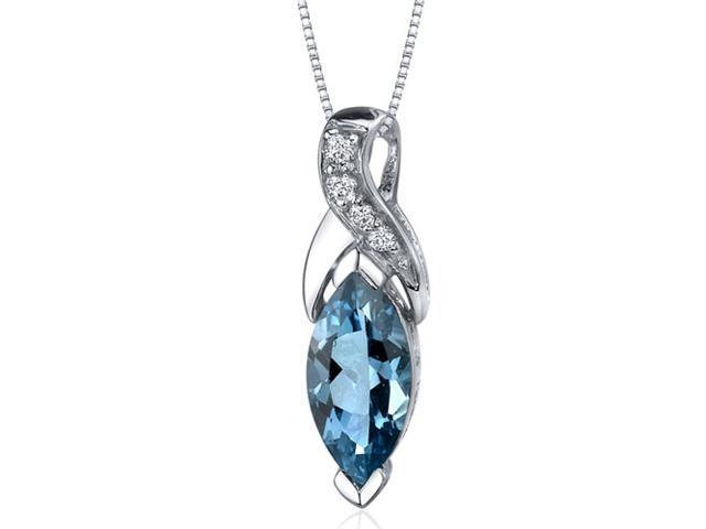 Striking Opulence 1.75 carats Marquise Shape Sterling Silver London Blue Topaz Pendant