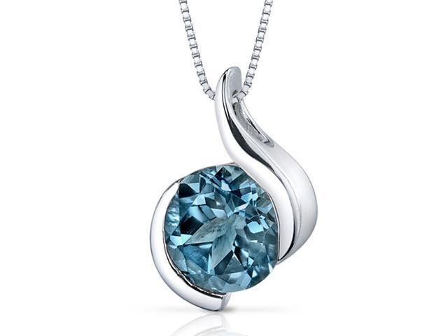 Oravo Stunning Sophistication 2.25 ct Round Shape Sterling Silver London Blue Topaz Pendant
