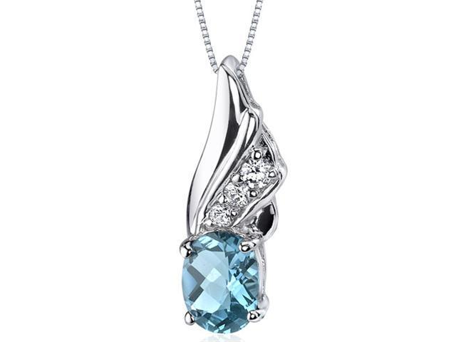 Graceful Angel 1.50 ct Oval Shape Sterling Silver Swiss Blue Topaz Pendant