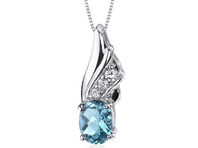 Graceful Angel 1.50 ct Oval Shape Sterling Silver Swiss Blue Topaz Pendant