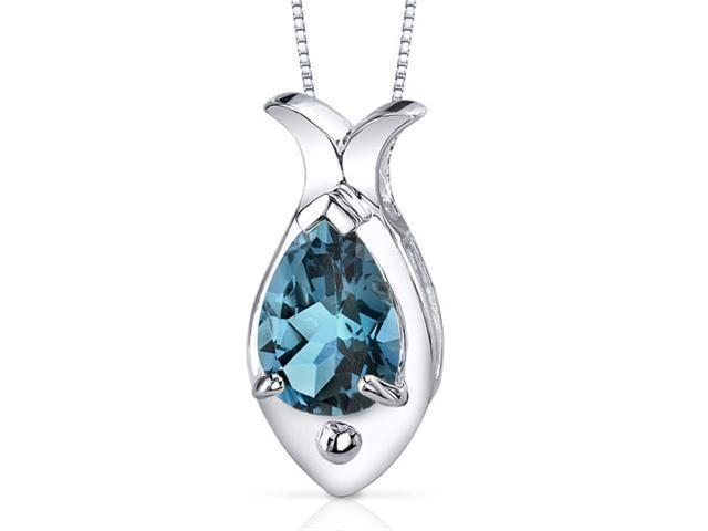 Fish Design 2.00 carats Pear Shape Sterling Silver London Blue Topaz Pendant