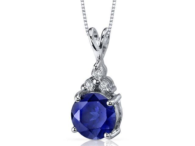 Refined Class 2.75 carats Round Shape Sterling Silver Blue Sapphire Pendant