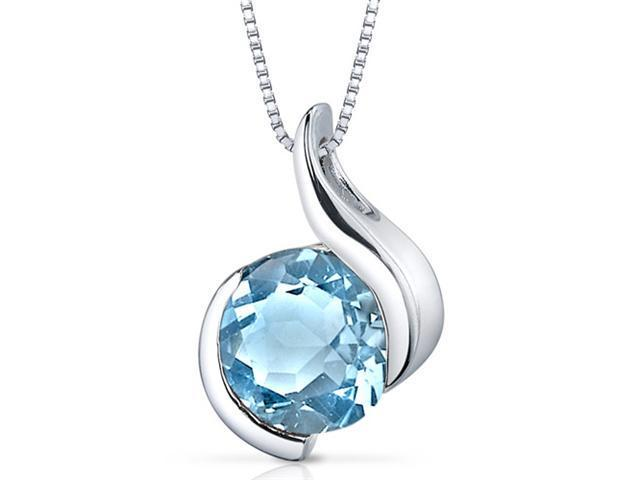 Oravo SP9486 2.25Ct Round Shaped Swiss Blue Topaz in Sterling Silver Pendant