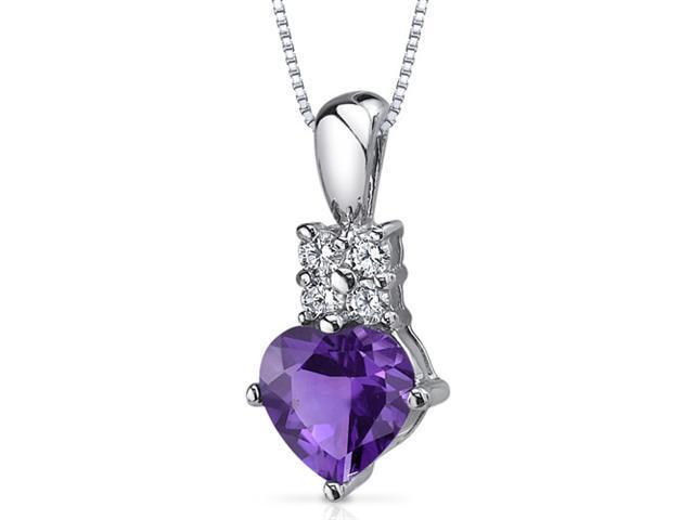 Captivating Love 1.00 carats Heart Shape Sterling Silver Amethyst Pendant