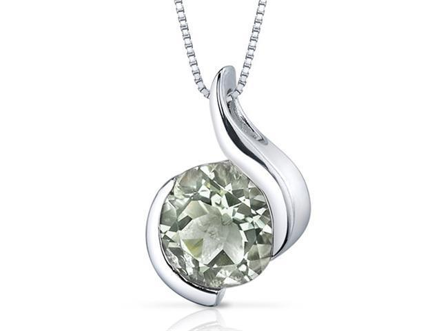 Stunning Sophistication 1.75 carats Round Shape Sterling Silver Green Amethyst Pendant