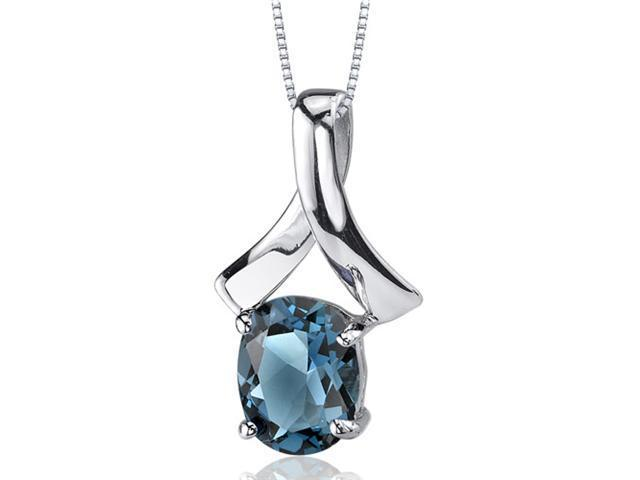 Smooth Radiance 2.00 carats Oval Cut Sterling Silver London Blue Topaz Pendant