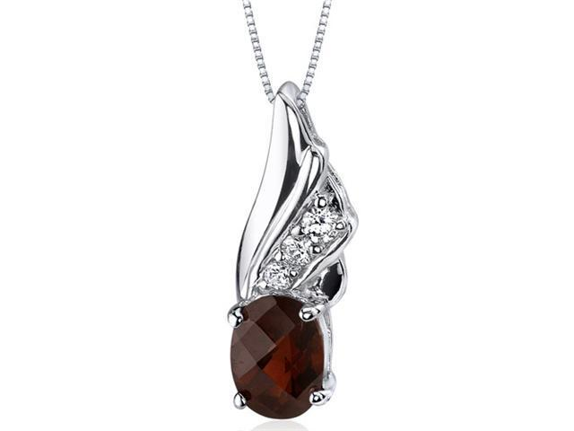 Graceful Angel 1.50 carats Oval Shape Sterling Silver Garnet Pendant