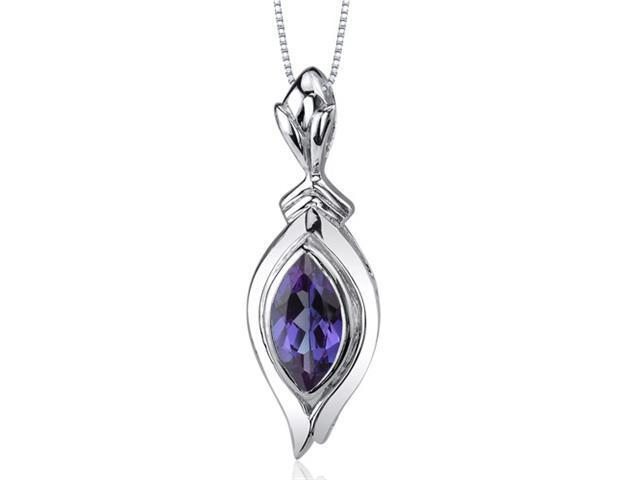 Opulent 1.25 carats Marquise Cut Sterling Silver Alexandrite Pendant