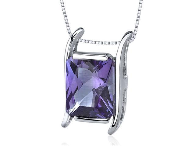 Striking Color 4.00 carats Radiant Cut Sterling Silver Alexandrite Pendant