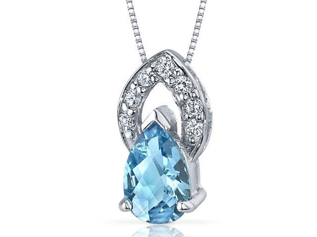 Captivating Allure 1.25 carats Pear Shape Sterling Silver Swiss Blue Topaz Pendant