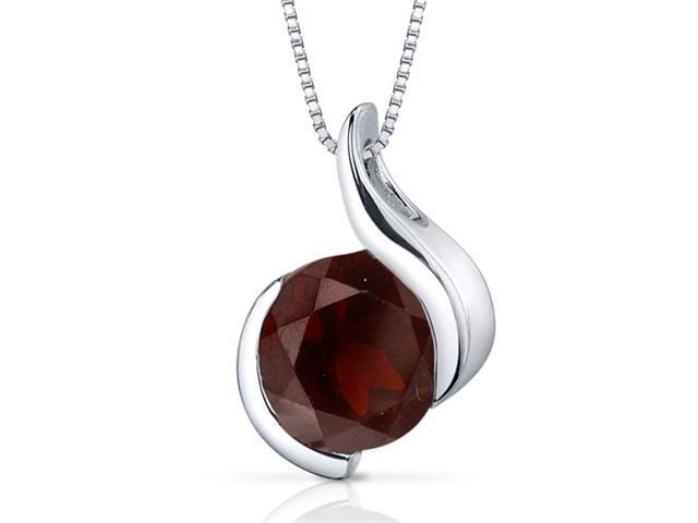 Stunning Sophistication 2.50 carats Round Shape Sterling Silver Garnet Pendant