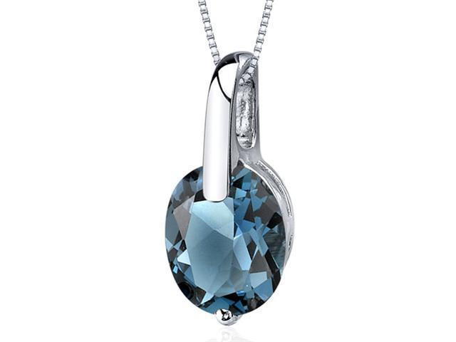 Stunning Class 3.00 carats Oval Cut Sterling Silver London Blue Topaz Pendant
