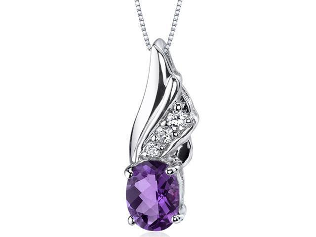 Oravo SP9160 Graceful Angel 1.00 ct. Oval Shape Sterling Silver Amethyst Pendant