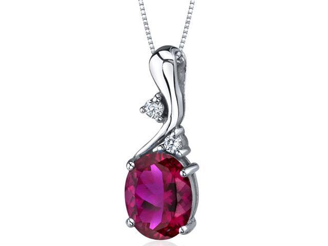 Illuminating Sophistication 3.25 carats Oval Shape Sterling Silver Ruby Pendant