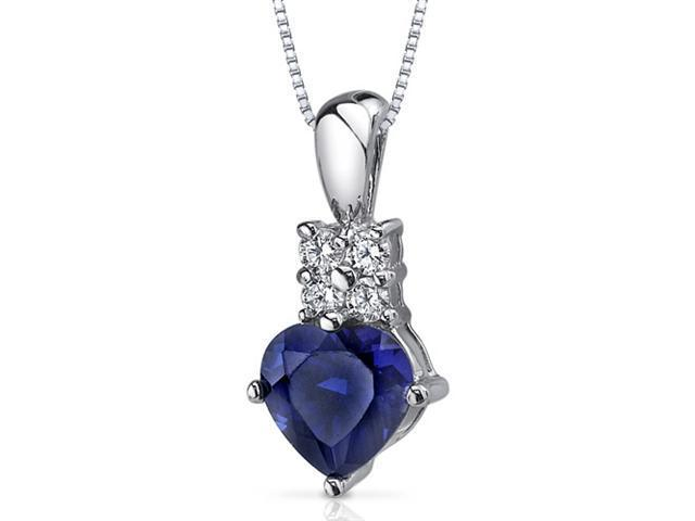 Captivating Love 1.75 carats Heart Shape Sterling Silver Blue Sapphire Pendant