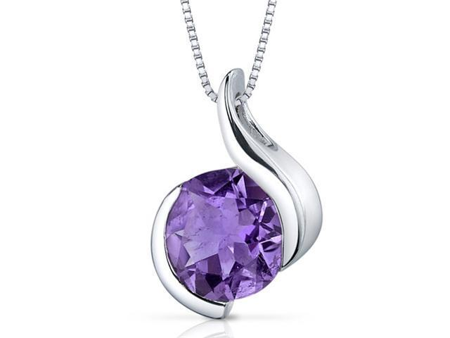 Stunning Sophistication 1.75 carats Round Shape Sterling Silver Amethyst Pendant