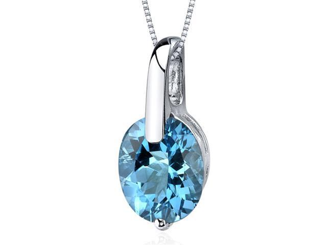 Stunning Class 3.00 carats Oval Cut Sterling Silver Swiss Blue Topaz Pendant