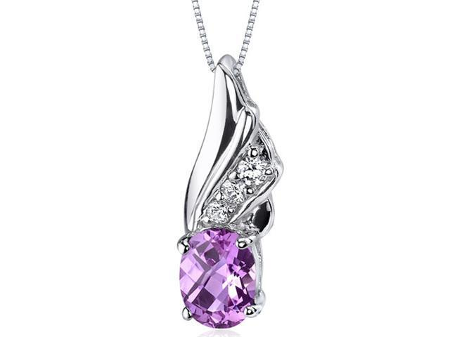 1.75 Ct. Oval Shaped Created Pink Sapphire in Sterling Silver Pendant