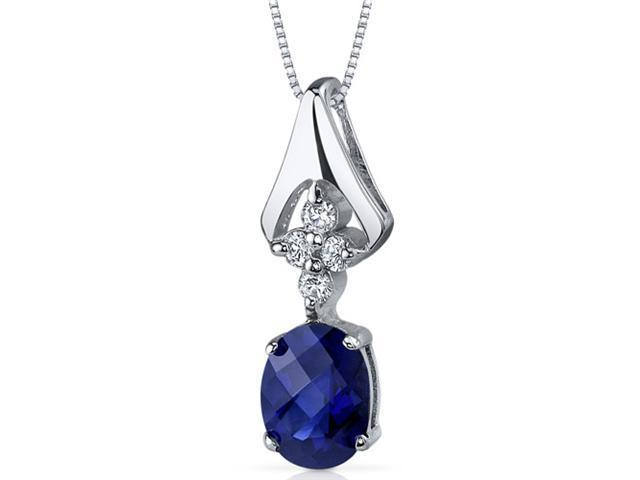 Ethereal Enchantment 1.75 carats Oval Shape Sterling Silver Blue Sapphire Pendant