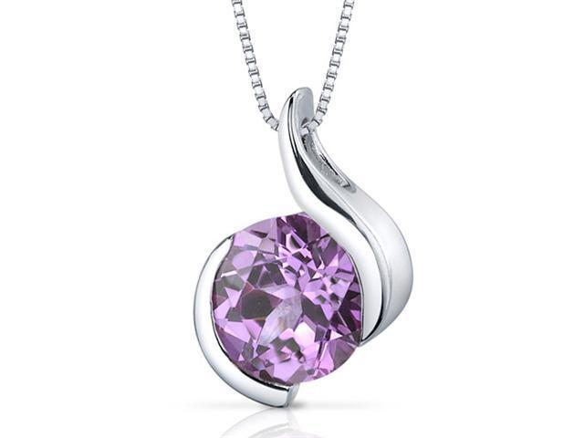 Stunning Sophistication 2.50 carats Round Shape Sterling Silver Pink Sapphire Pendant