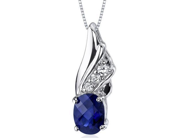 Graceful Angel 1.75 ct. Oval Shape Sterling Silver Blue Sapphire Pendant