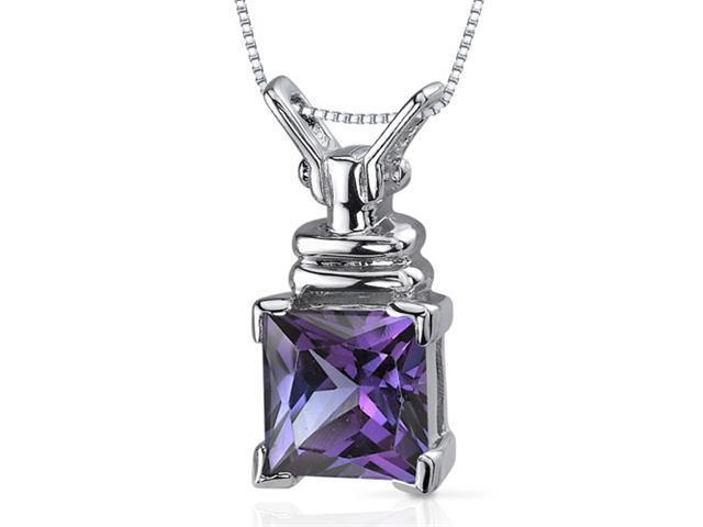 Boldly Regal 3.25 carats Princess Cut Sterling Silver Alexandrite Pendant