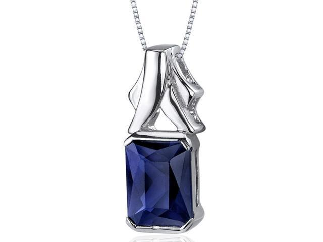 Lucid Elegance 3.00 carats Radiant Cut Sterling Silver Blue Sapphire Pendant
