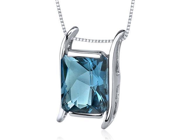 Striking Color 3.75 carats Radiant Cut Sterling Silver London Blue Topaz Pendant
