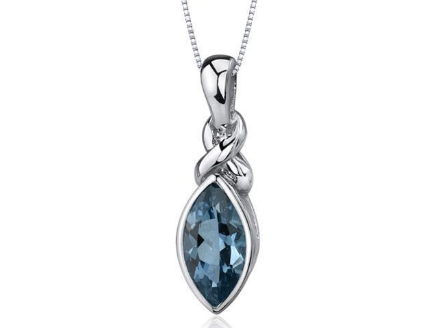 Graceful Allure 1.75 carats Marquise Cut Sterling Silver London Blue Topaz Pendant