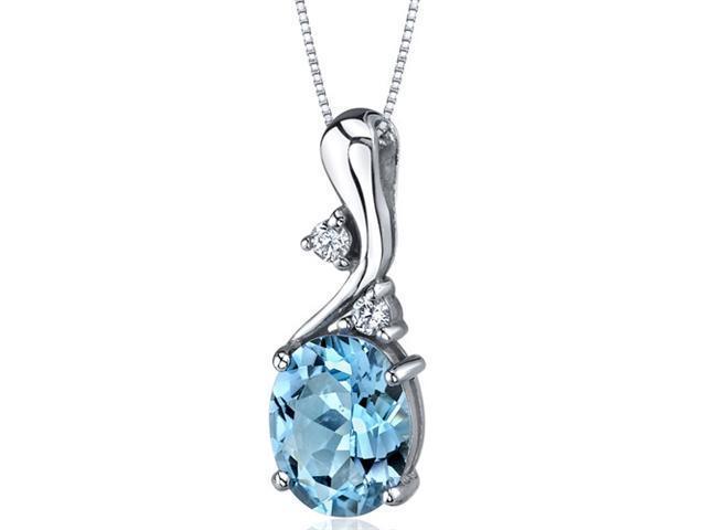 Illuminating Sophistication 3.00 carats Oval Shape Sterling Silver Swiss Blue Topaz Pendant