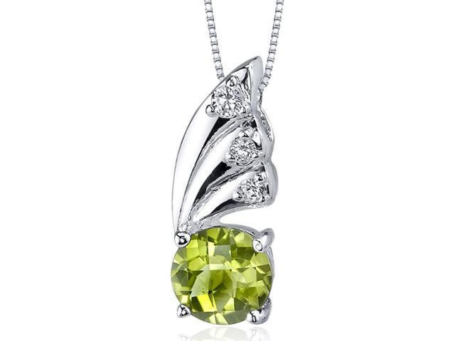 Sublime Elegance 1.25 carats Round Shape Sterling Silver Peridot Pendant