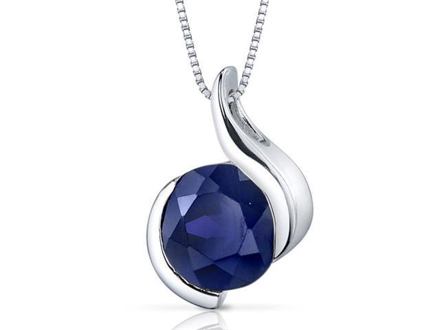 Oravo SP9492 2.75 Ct. Round Shaped Created Blue Sapphire Sterling Silver Pendant