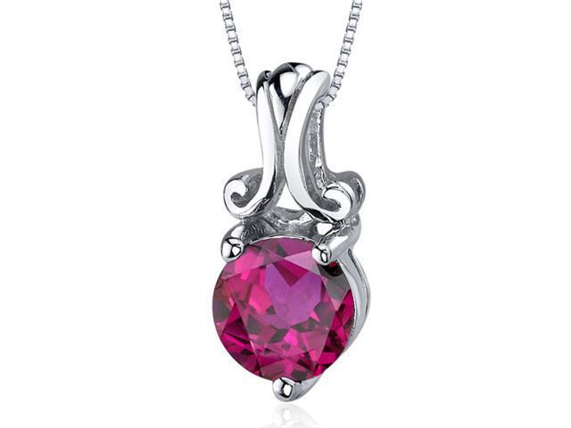 Refined Charm 1.75 carats Round Cut Sterling Silver Ruby Pendant
