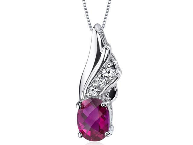 """Oravo SP9170 1.75 Ct. Oval Cut Created Ruby Sterling Silver Pendant with 18"""" Necklace"""
