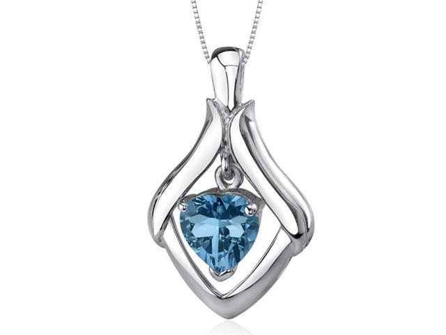 Exuberant Love 3.00 carats Heart Shape Sterling Silver London Blue Topaz Pendant