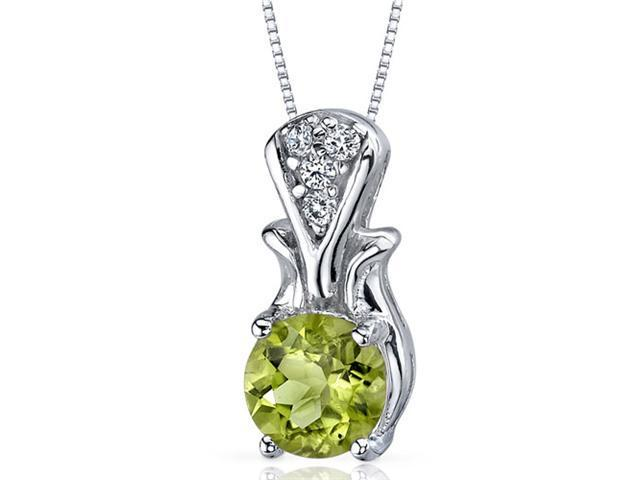 Regal Radiance 1.25 carats Round Shape Sterling Silver Peridot Pendant