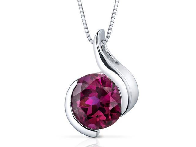 2.75 Ct. Round Shape Created Ruby in Sterling Silver Pendant with 18