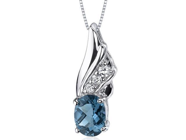 Graceful Angel 1.50 carats Oval Shape Sterling Silver London Blue Topaz Pendant