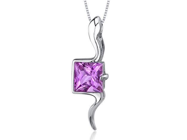 Vivid Grace 2.25 carats Princess Cut Sterling Silver Pink Sapphire Pendant